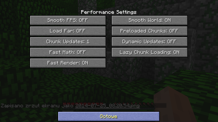 Menu performance w  Minecrafcie