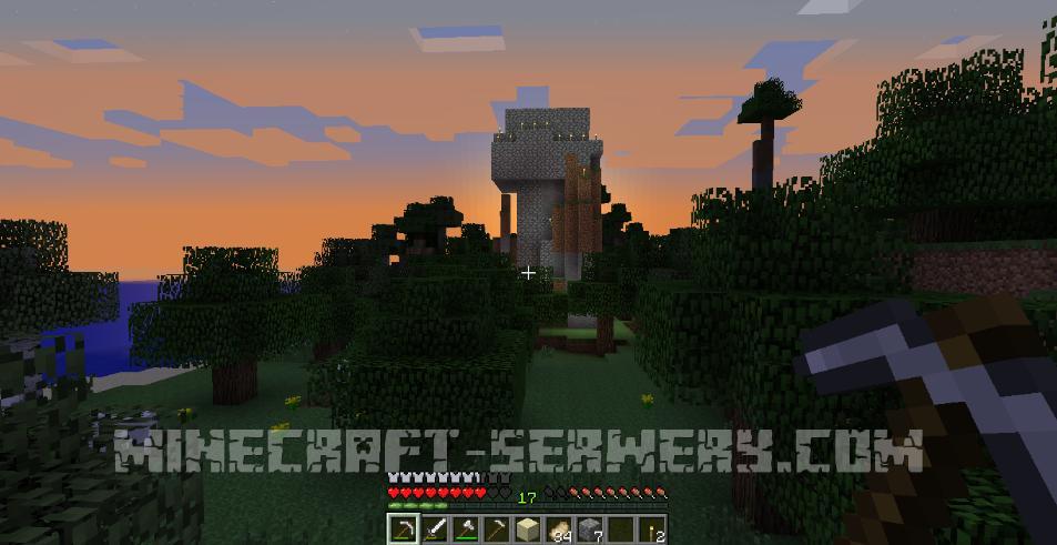 minecraft surwival widok na domek